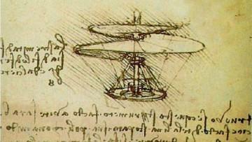 Drones en un dibujo de Leonardo da Vinci a partir de sus estudios sobre los pájaros.