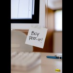 "¡Comprar Post-it! (Nota ""parche""). Publicidad de 3M."