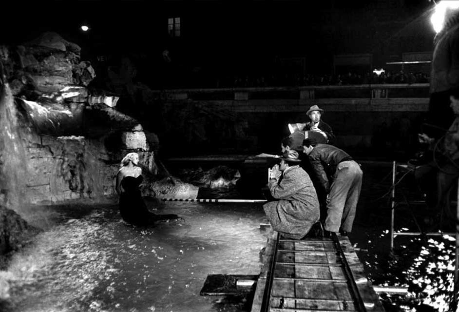 Backstage de una de las tomas de la Fontana de Trevi.
