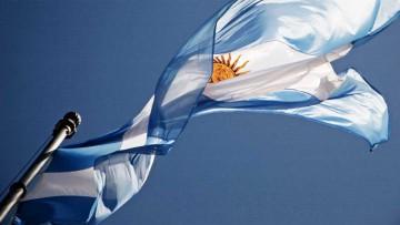 Independencia argentina: Bandera Nacional Argentina de guerra con sol.