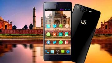 Teléfonos celulares inteligentes en la India: Taj Mahal.