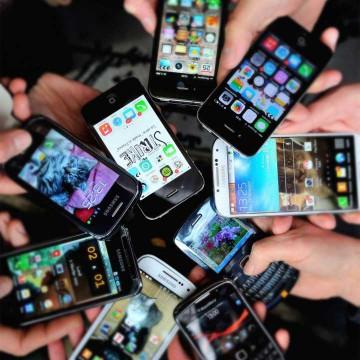 Teléfonos celulares en la India.