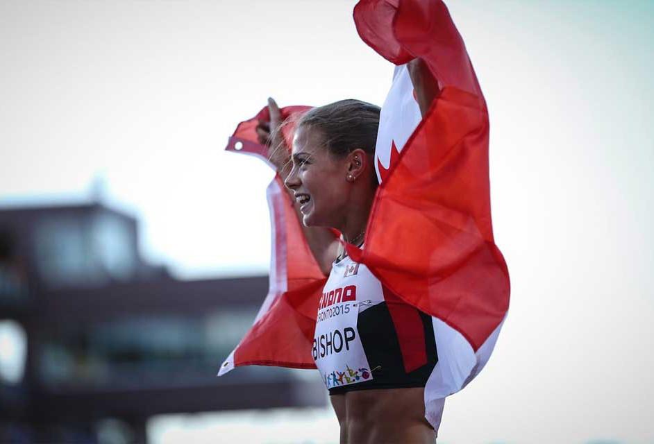 La corredora canadiense Melissa Bishop, oro en 800 metros llanos.