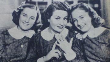 """Niní Marshall junto a las hermanas Mirtha y Silvia Legrand en """"Hay que educar a Niní""""."""