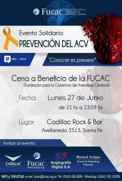 Cena beneficio de la Fucac · 27/06/2106 · 21:00 · Cadillac Rock & Bar