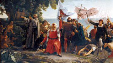 Marketing para descubrir América: Llegada de Cristóbal Colón a América (Dióscoro Puebla, 1862).