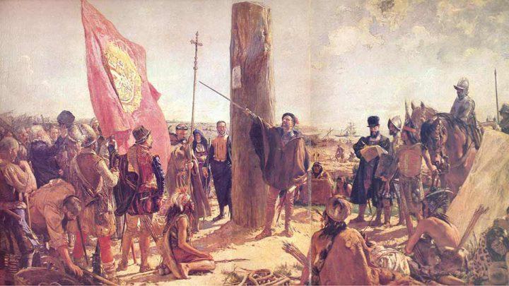 """Óleo de José Moreno Carbonero, """"La Segunda Fundación de Buenos Aires"""", 1921."""