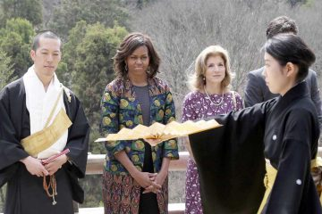 Michelle Obama y Caroline Kennedy en Kioto, 2015.