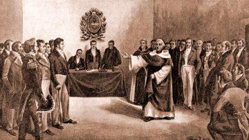 Imagen de la Jura de la Independencia Argentina el 9 de julio de 1816.