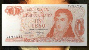 Billete de 1 Peso Ley 18.188/69.