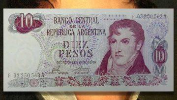 Manuel Belgrano en el billete de $10 Ley 18.188.