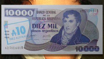 Billete de 10 mil Pesos Argentinos convertido en 10 Australes.