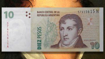 """Billete de ARS 10, el típico """"marrón"""" con la cara de Belgrano."""