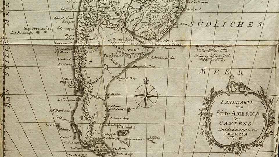 América del Sur según un mapa de 1782.