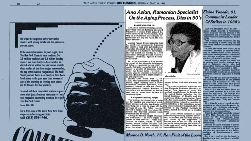 La leyenda de la doctora Ana Aslan y su muerte.