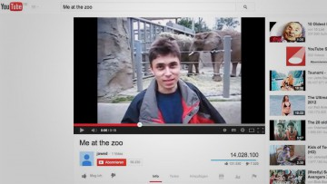 "Pantalla con el video que inició YouTube, ""Me at the zoo""."