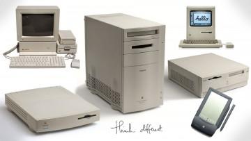 Varios modelos de computadoras Apple y la PDA Newton.