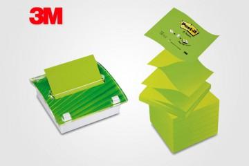 Las Post-it y el dispensador de notas de 3M en versión más verde.
