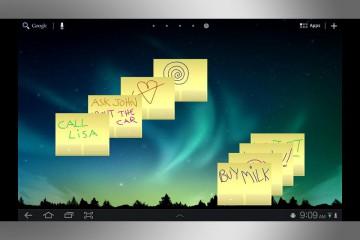 Post-it digitales de 3M sobre la pantalla de una tableta con el SO Android.