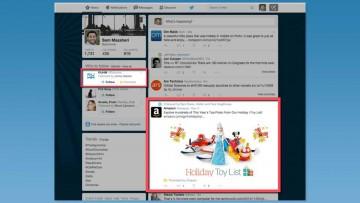 Inserción de anuncios publicitarios en la línea de tiempo de Twitter.