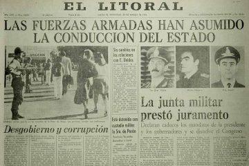 98 aniversario de El litoral: tapa del 24 de marzo de 1976.