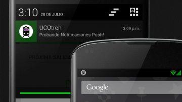 Prueba de notificaciones push en un smartphone basado en Android.