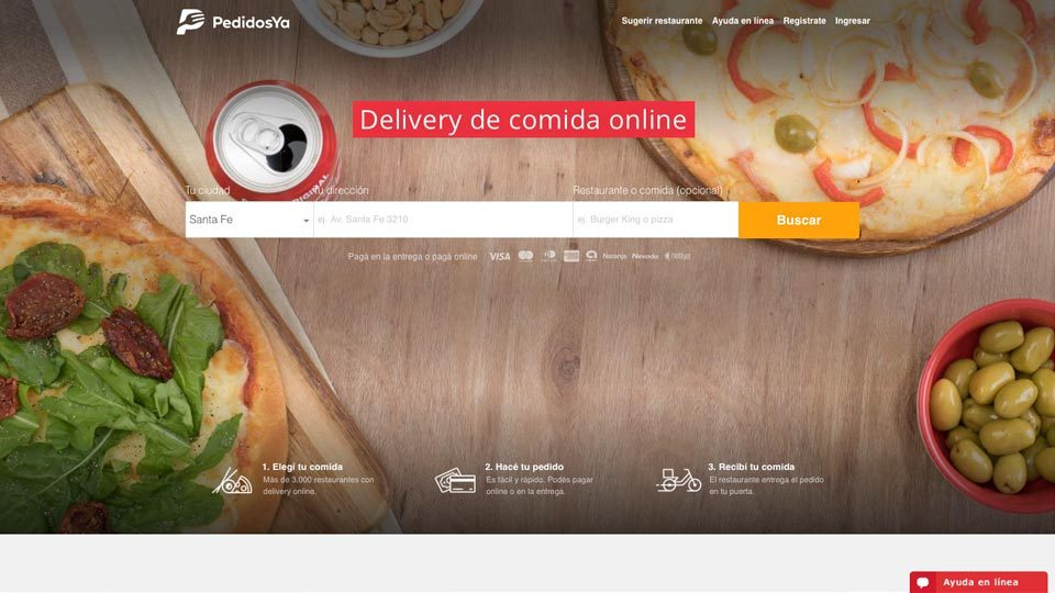 Pedidos Ya hace historia en movimiento: página inicial en la web.