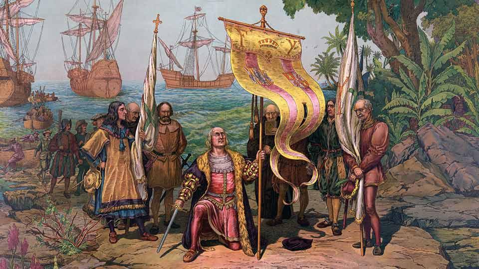 """Día del Respeto a la Diversidad Cultural: """"Colón llega a América"""", pintura de Gergio Deluci publicada por la Prang Educational Co. en 1893 y conservada en la Biblioteca del Congreso de EE.UU."""