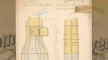 """Sarah Mather inventora olvidada: fragmento del plano de patentamiento del """"telescopio submarino""""."""