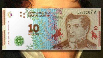 Billete de 10 pesos argentinos según el rediseño de 2016.