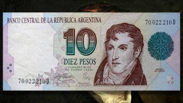 Facsímil del billete de 10 pesos convertibles a dólares, moneda inolvidable para los argentinos.