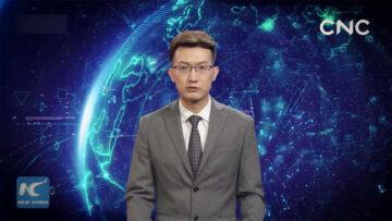 El presentador de noticias virtual de la agencia estatal china Xinhua en acción.