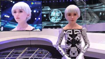 La presentadora robótica china Jiang Lai Lai en pantalla.