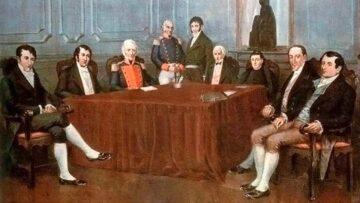 Día de la Patria y la Revolución de Mayo 2021: Primera Junta, cuadro de Francisco Fortuny, pintor e ilustrador argentino de origen español.