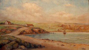 Puerto Soledad, Malvinas, óleo pintado por Luisa Vernet Lavalle de Llovera en 1829.